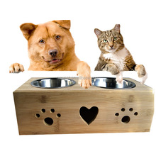 Most popular best selling bamboo,stainless steel pet feeder spaniel dog bowl