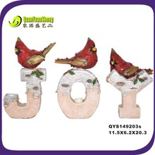 great design red resin bird ornament for joy