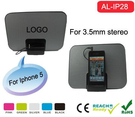 Stereo Portable Smartphone Docking Station for mp3 and Any Other Audio Devices ,with retractable stand and 3.5mm jack