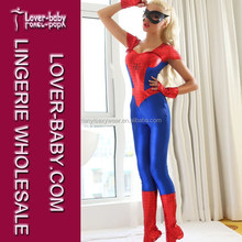 2015 Adult Halloween Fancy Dress Suit Vinyl Spiderman Sexy Girls Blue Red Latex Catsuit