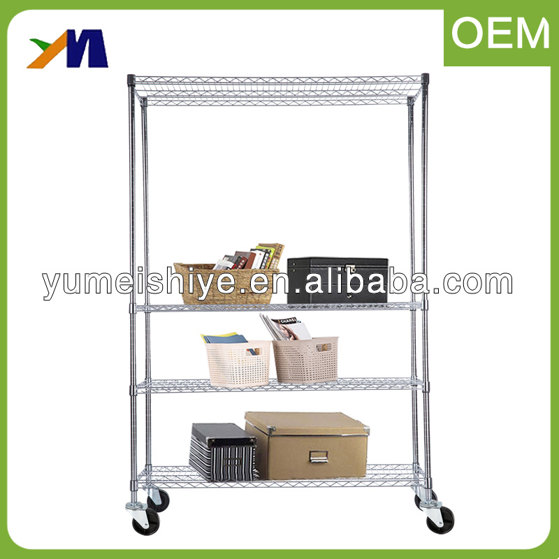 82X48X18 Adjustable Wholesale 4 Tier Wire Shelving Rack Metal Home Storage Shelf With Wheels