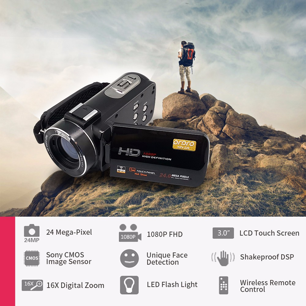 "New HDV-Z20 24Mp Wifi <strong>1080P</strong> Full HD Digital Video Camera Camcorder with Remote Wide Angle Lens and Hot Shoe 3"" Touch Screen"