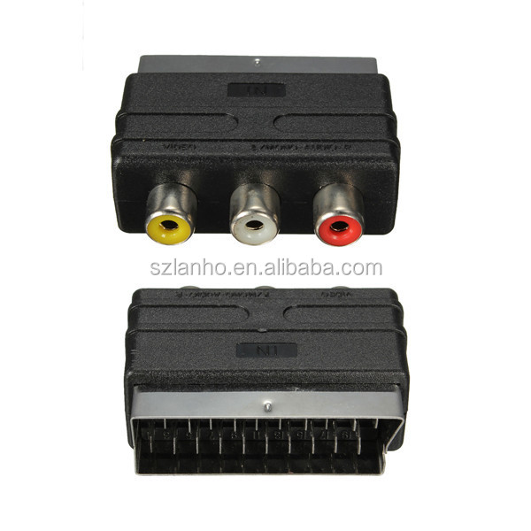 High quality 20 Pins SCART Male Plug To 3 RCA Female AV TV Audio Video Adaptor Converter IN