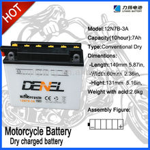 12 Volt 7Ah battery,12N7B-3A,Dry charged storage battery for Mini-motorcycle, Scooter, Motorcycle,factory wholesale price