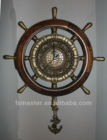 solid wood alloy old antique steering wheel wall clock classis wooden antique brass wall clock