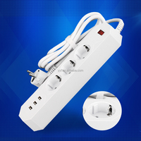 Multi electric wire extension cord european schuko socket with 4 smart usb ports