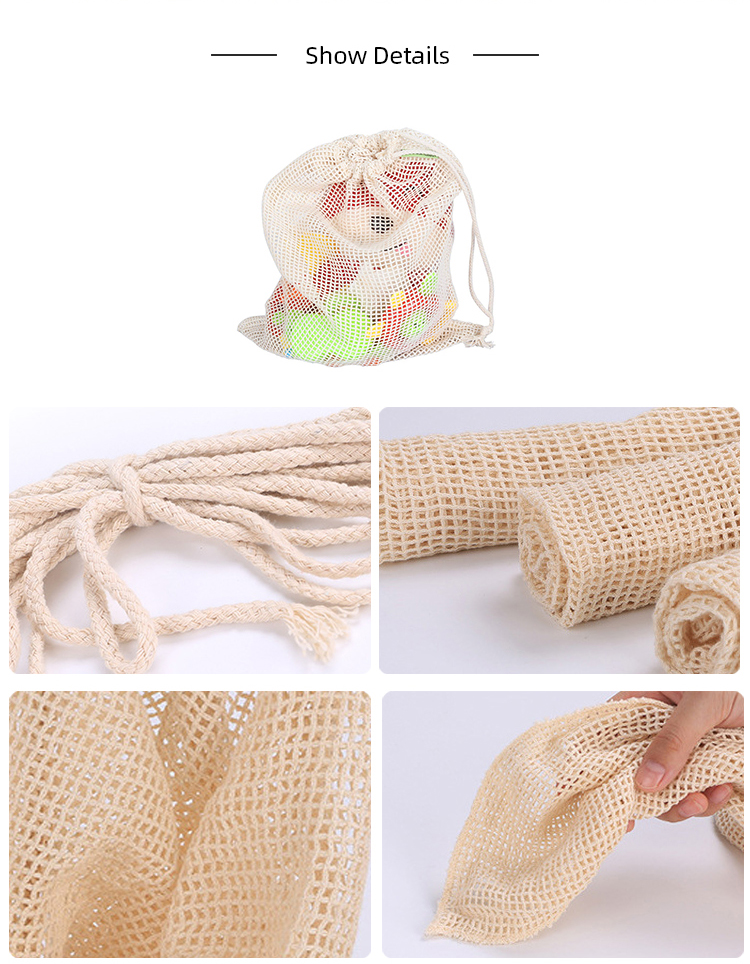 Ginzeal Breathable Eco-Friendly  Cotton Mesh Fruit Bag