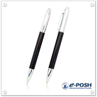 Metal slim carbon fiber twist action ball point pen