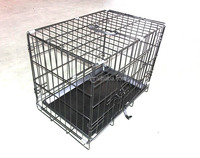high quality black coated for flamingo two doors foldable iron dog cages