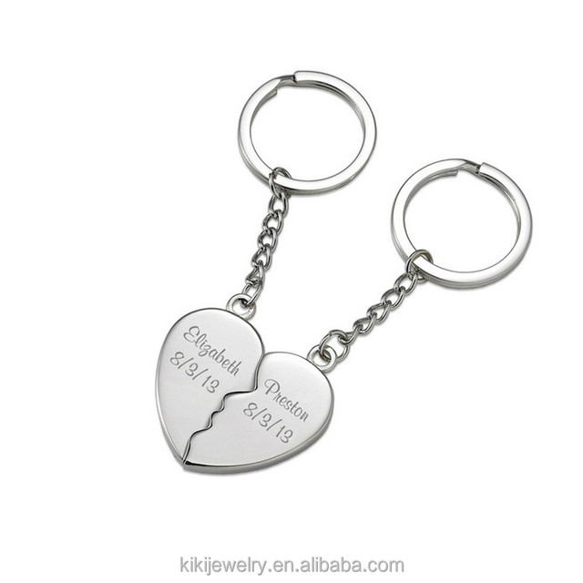 High Quality Stainless Steel Metal Key Chain Two Soul One Heart Lover Personalized Custom Couple Keychain