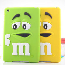 For iPad mini Fashionable 3D Cute Cartoon Rainbow M Bean Silicone Tablet Back Cover Case