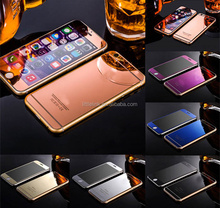 Electroplating Mirror Front Back Color Tempered Glass Screen Protector for iPhone 5 6s 6 Plus