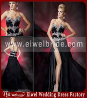112c04 Black Sweethear Side Split 2014 Sexy Beaded Mermaid Prom Dresses