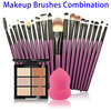 Factory Wholesale 20pcs Makeup Brush Set with makeup sponge and Concealer