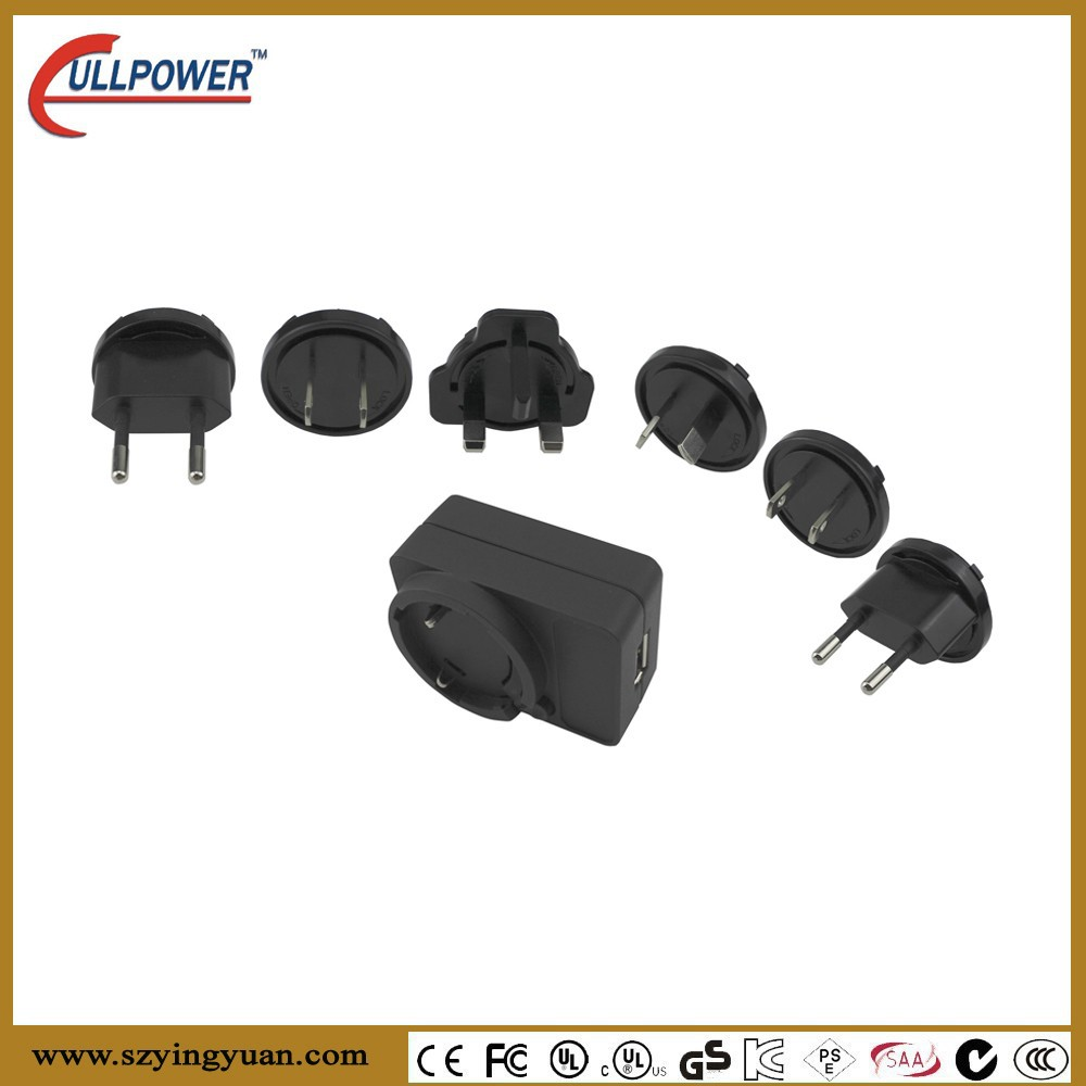 Interchangeable plug Adapter multiple plug mobile phone battery Travel charger Wall plug type USB Power adapter