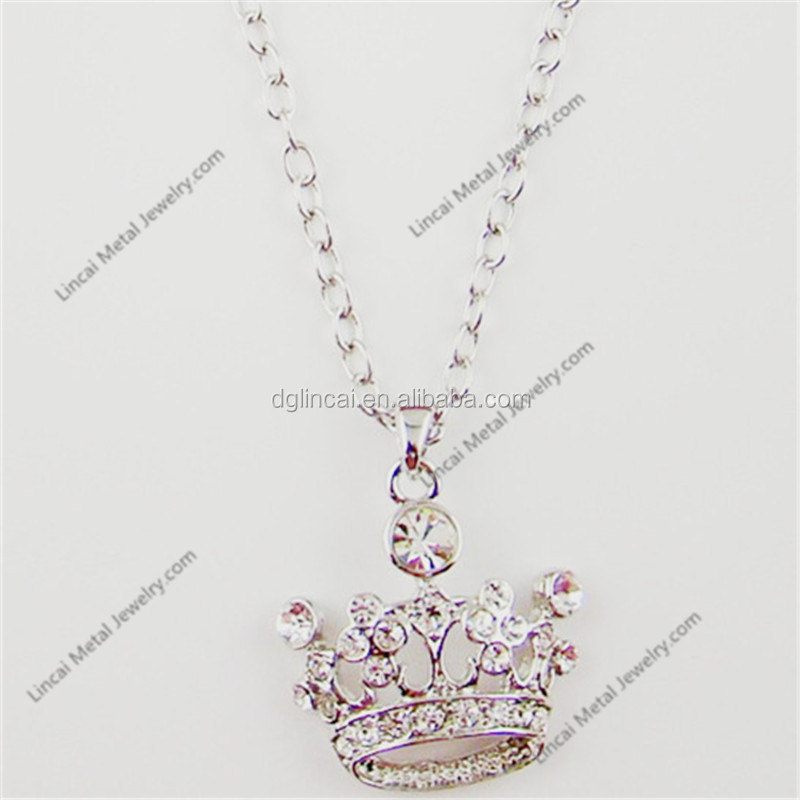Alloy hollow crystal crown pendant necklace