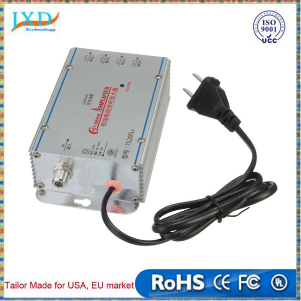 NEW 220V 4 in 1 out 4 Way CATV Cable TV VCR Video Aerial Signal Amplifier AMP Booster Splitter Broadcast Equipments