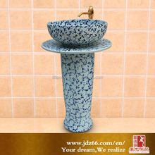 Blue and white traditional pedestal basin