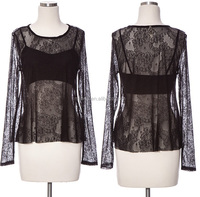 Long sleeve laced top,women sheer sexy lace tunic tops manufacture,wholesale summer lace tops designs
