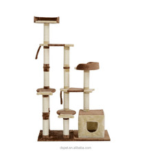 "Dspet 66"" Pet Scratcher Condo Cat Tree Tower Cat climbing frame - Brown Pet Products Cat toy"
