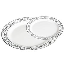 50 Pack White with gold Silver Diamonds Plastic <strong>Plates</strong> with Rim - Includes 25 Dinner <strong>Plates</strong> and 25 Salad <strong>Plates</strong>
