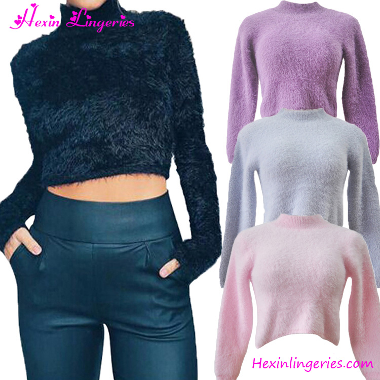 China Factory Winter Pink High Neck Crop Top Wool Sweater