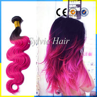 Fashion Ombre Color 1B/Bright Pink Hair Weaving Body Wave Brazilian Human Remy Hair Extension Two Tone