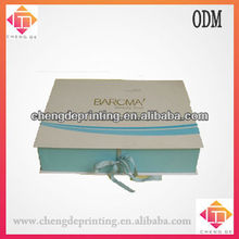 custom luxury cardboard gift boxes with blue ribbons for perfume jewelry packaging