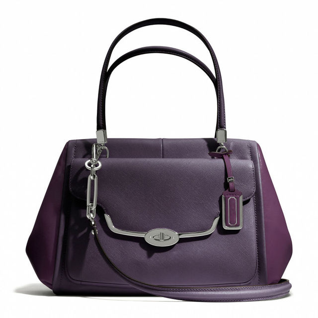 2014 Fashion purple saffiano PU leather ladies new style bag handbag EC112701