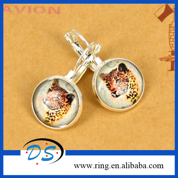 New Design Silver Plated Drop Earrings Round Glass Gemstone Vivid Leopard Head Stude Earrings For Women
