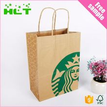Wholesale foldable fashion food kraft paper bag for shopping