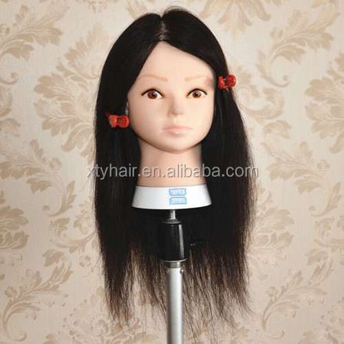 "Hot selling factory wholesale price 18"" 2# stock human hair 100% hand tied training head, lesson wig,mannequins for hairdresser"