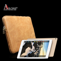 Genuine leather book bag zipper design hand book bag case for ipad