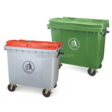 EN-840Cheap Outdoor Industrials Large Plastic Waste Bins with Wheel/Beach Restaurant Hotel Community Big Trash Can/Park Dustbin