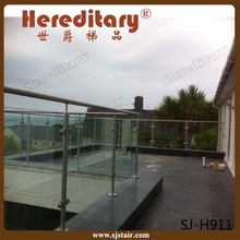 satin 304 316 stainless steel terrace baluster railing/deck rail balusters with clear tempered glass