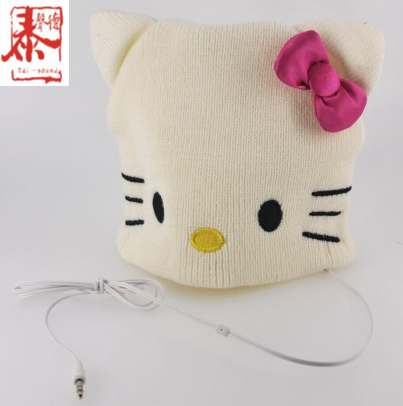 Fashionable high quality stereo wired hello kitty custom design headphone with micphone