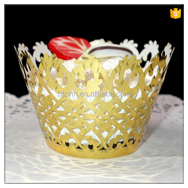 wholesale pearl paper laser cut vine design cupcake wrapper custom lace cup cakes liners wraps supplies for baby shower