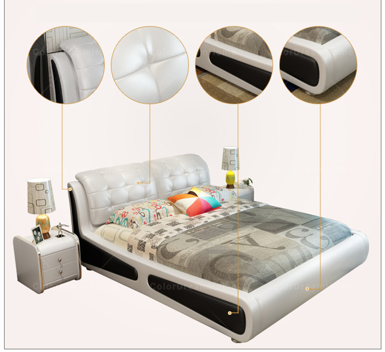 Faux Leather Bed Frames bedroom Furniture storage bed with gas lift