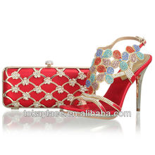 red Italian Leather Shoe And Bag Set