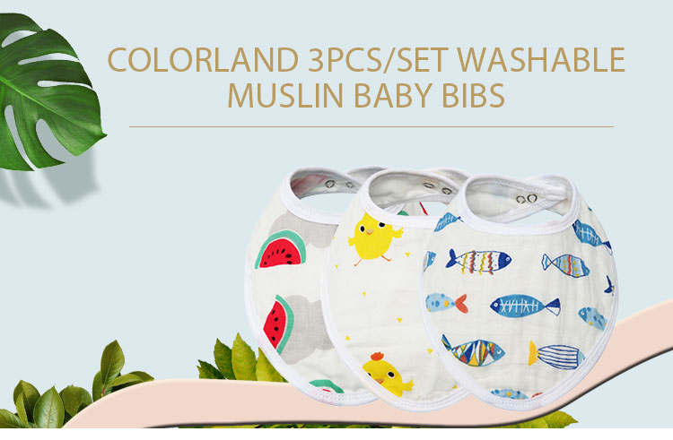 COLORLAND soft absorbent cotton baby drool bibs 2 layers adjustable muslin baby bibs