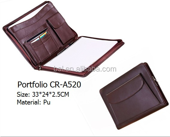 Luxury genuine Leather Portfolio Writing Pad Business Case for latop