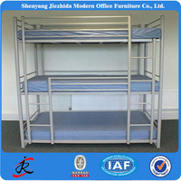 steel metal iron bed army hotel hostel 3 person 3 tier triple 3 sleeper cheap bunk beds with mattresses