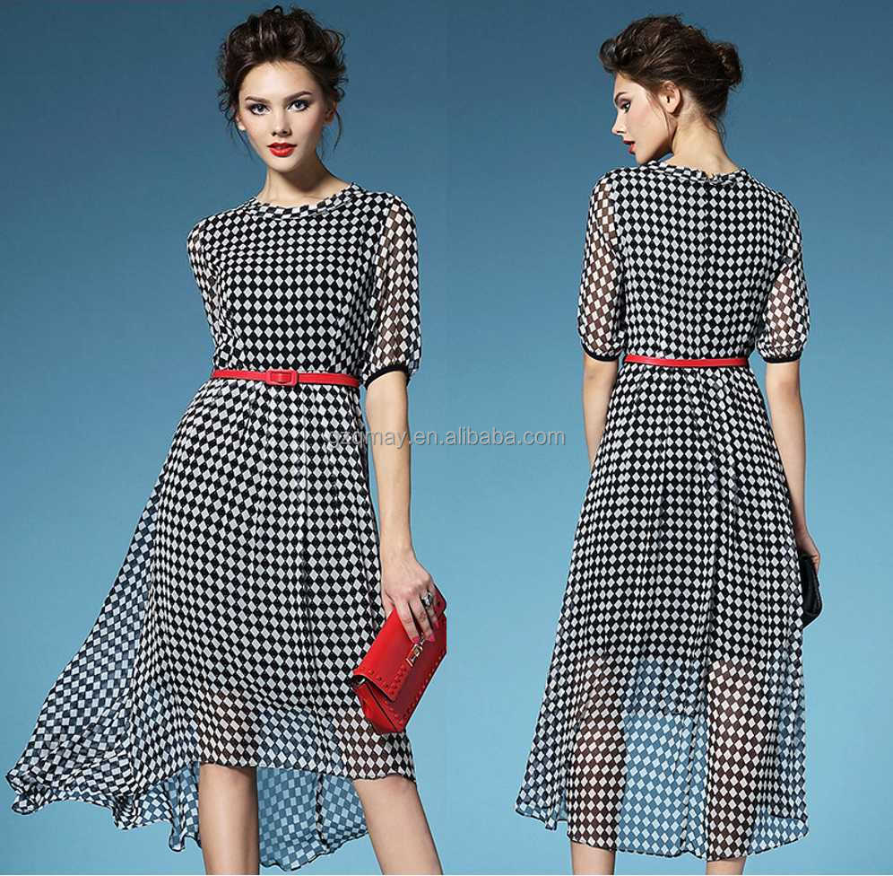 2015 Wholesale Custom Design Ladies High Neck Half Sleeve Dress with Linging and Back Zipper