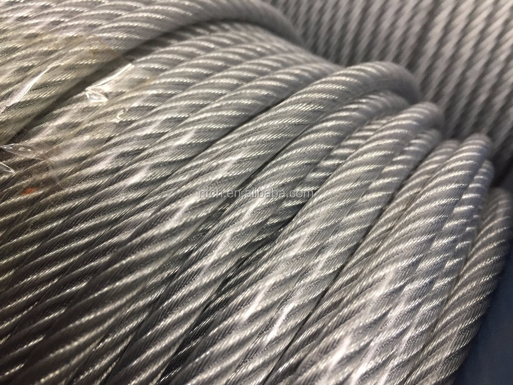 nantong wire rope pulling price 6x12+7fc hot-dip galvanized wire rope
