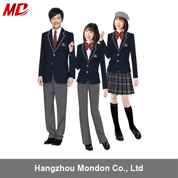 Wholesale Coat Pants or Pleated skirt US style High School Uniform With Tie or Bow