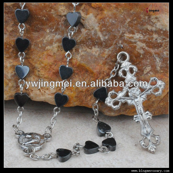 Heart-Shaped Hematite Bead Rosary Necklace
