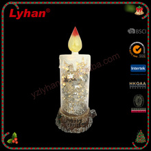 Lyhan cheap LED candle decoration wirh resin wood and silver star christmas indoor decoration