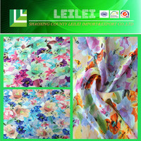 100% Poly Flower Designs Fabric Painting For Lady Dress