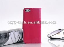 Newest glossy pattern PU leather wallet type case for iPhone5,for iPhone5 PU leather case cellphone protective skin cover