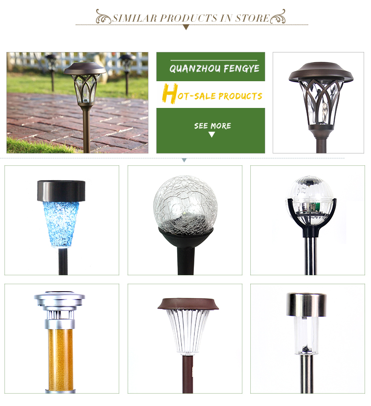 European style stick solar lamp for the garden